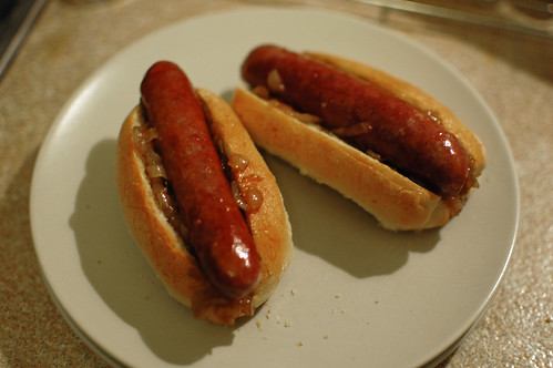 Beef Sausages in Buns with Balsamic Caramelised Onions