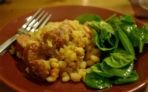 cassoulet and spinach salad