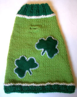 Too cute - doggie sweater for a bit of canine wearing o the green!