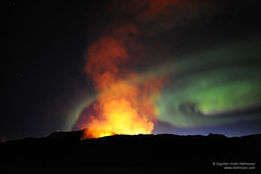 Aurora and volcanic eruption on Fimmvorduhals in Iceland