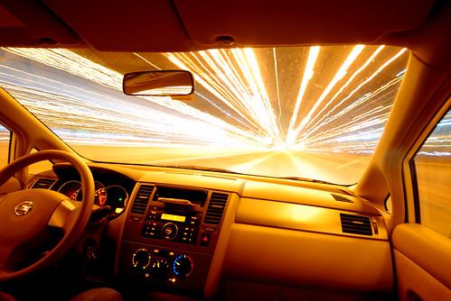 In Car Entertainment in Dubai - long exposure