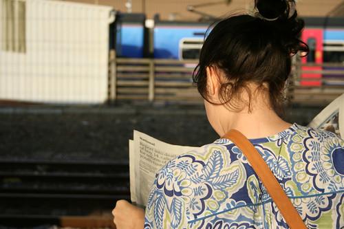 Girl waiting at Peterborough Train Station