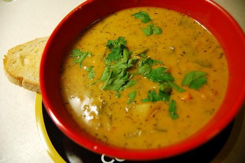 Hungarian potato and sweet potato soup
