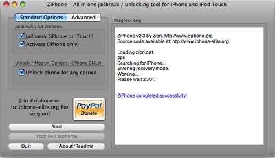 Captura de pantalla de ZiPhone después de liberar el teléfono