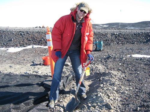 Ed digging permafrost