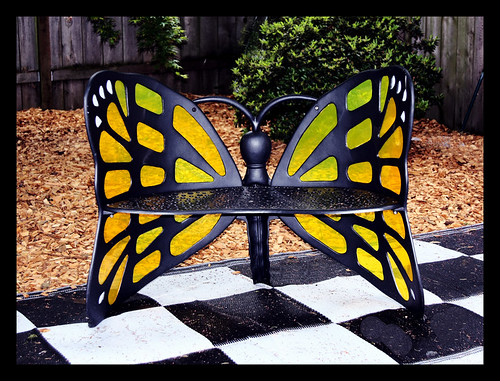 My new stained glass monarch butterfly bench