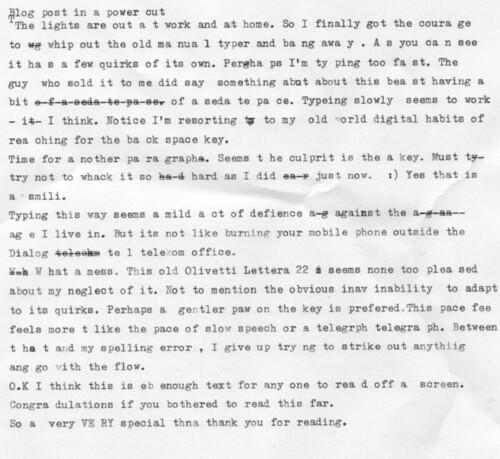 Scan of typewritten blog post