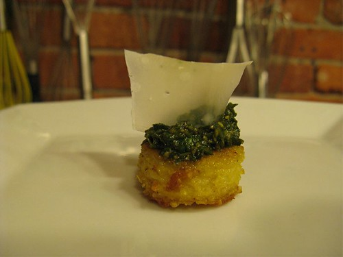 polenta with pesto and cheese