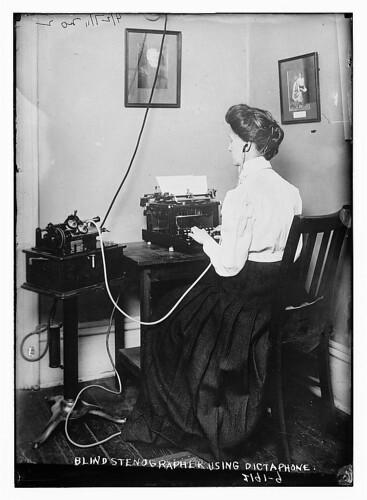Blind stenographer using dictaphone (LOC)