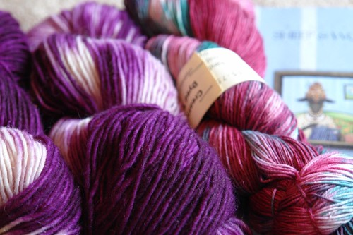 Sock Yarn to the Rght (Unknown named yarn on the left).