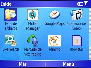 Menu inicio Windows Mobile 5 HTC Excalibur S620 Scroll 3 de 4