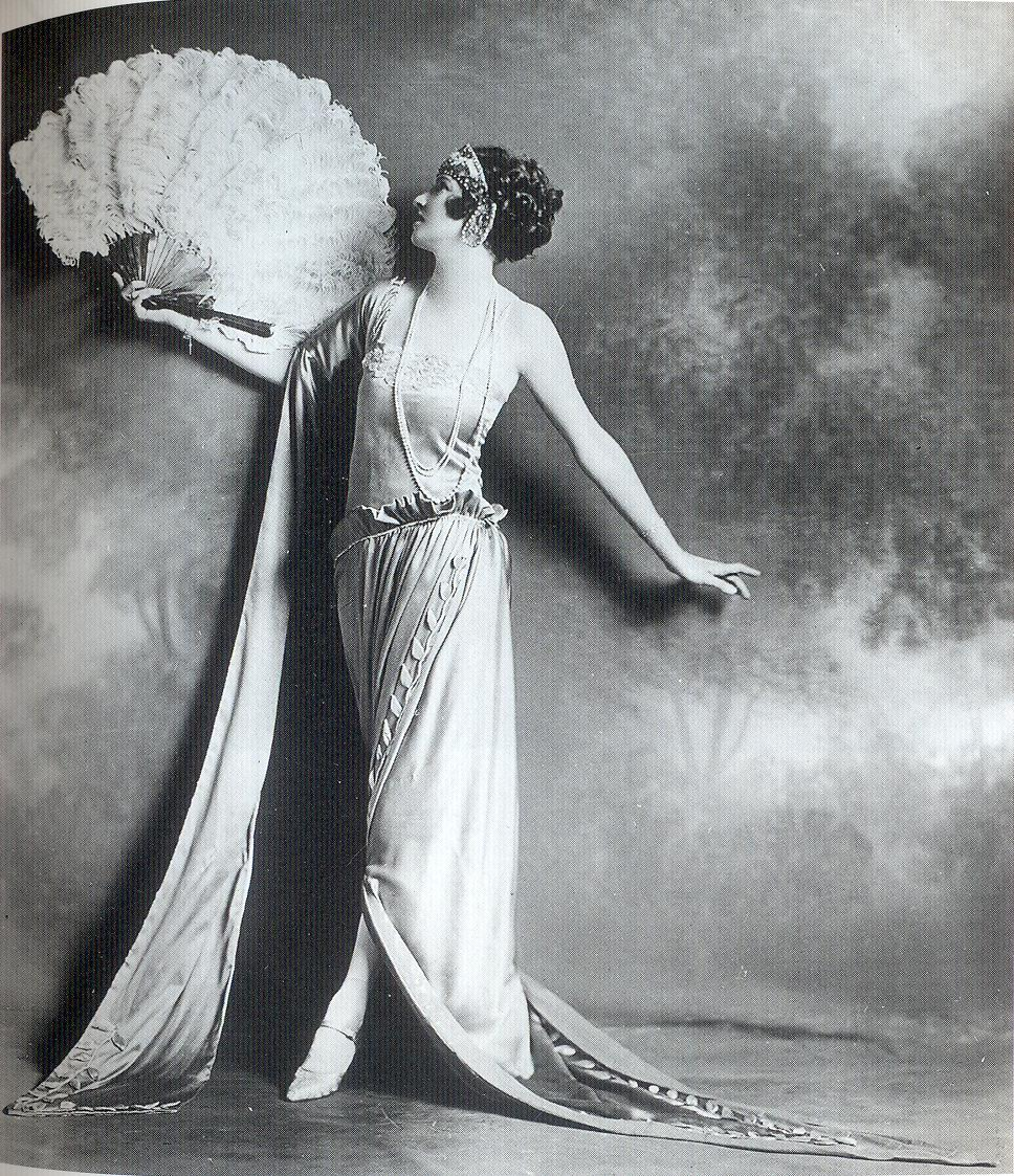 Dancer Irene Castle poses in a classical-style dress, 1922