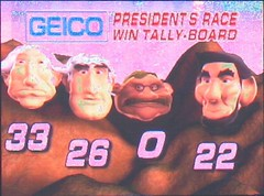 The RFK Stadium scoreboard shows the final standings for the 2007 presidents race.