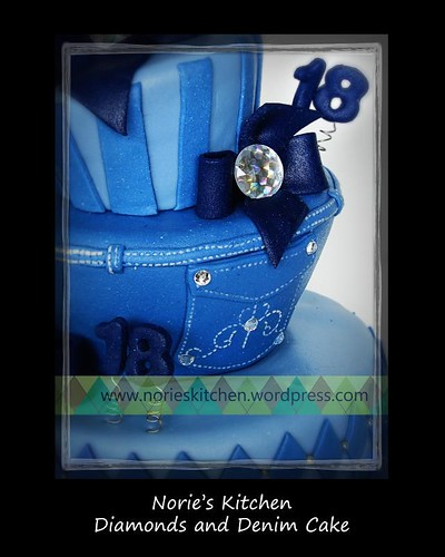 Norie's Kitchen - Diamonds and Denim Debut Cake - Stitching Detail