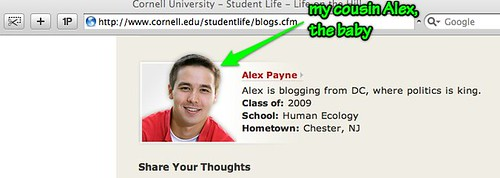 my cousin Alex blogs too