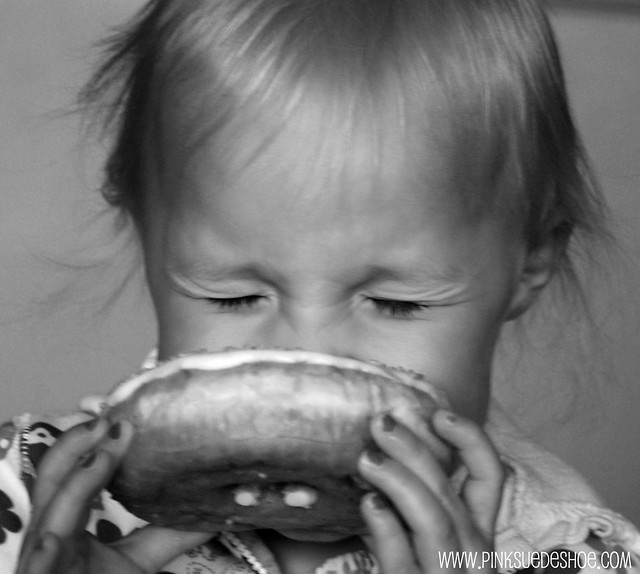 eating a doughnut