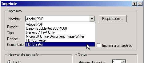 Seleccionar impresora