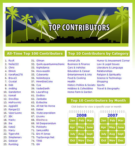 Top 100 Contributors on WikiAnswers