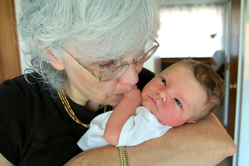 Grandma kisses.