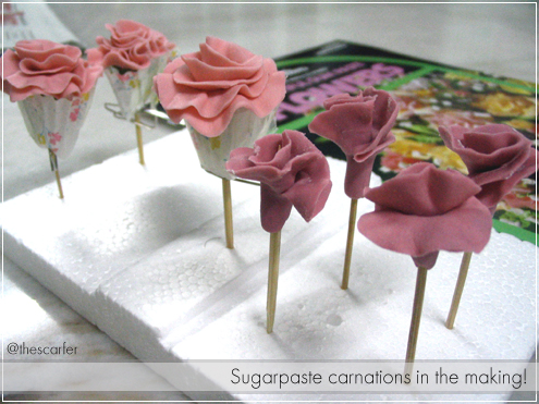 Sugarpaste carnations in the making!