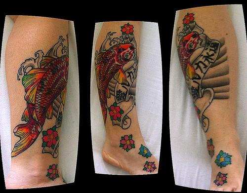 ely's tattoo koi on leg phase 2