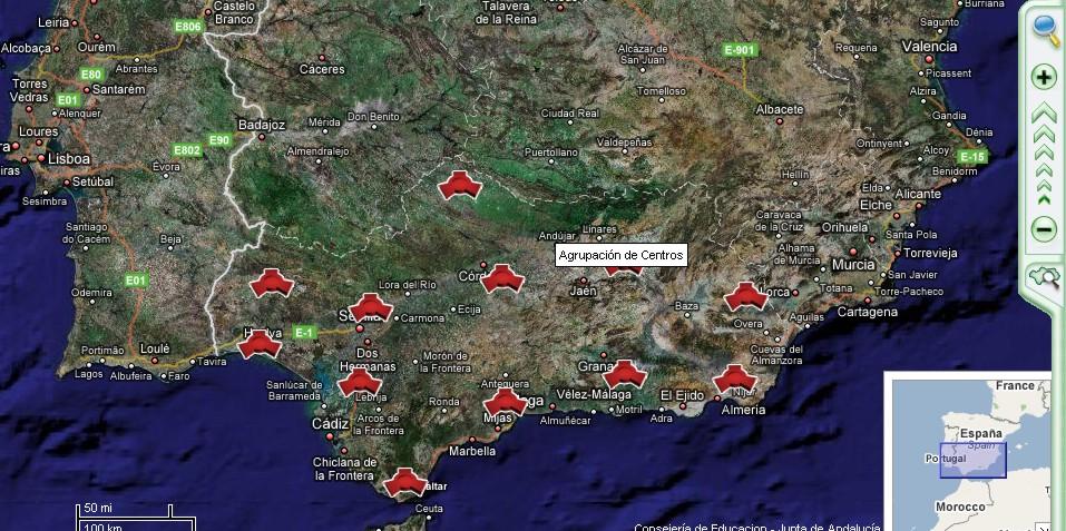 Mapa de Andalucía con centros