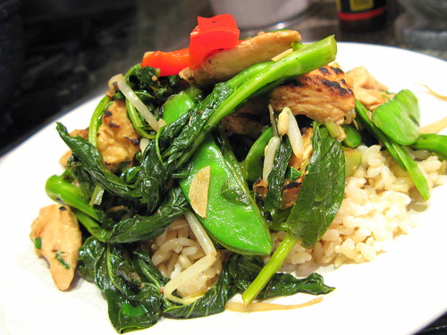 Baby Gai Lan with Thai Basil and Chicken Stir Fry by you.