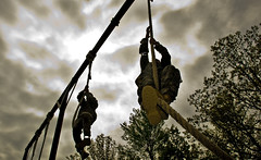 Sapper competitors complete the rope climb