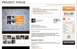 Screenshot of WITNESS' Project: FOCUS on Crowdrise