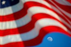 American Flag Honors the Moon