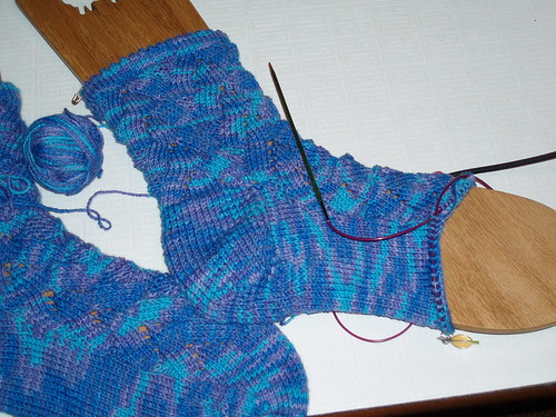 Picot cuff mini-monkey socks in CP Bamboo blueberries-grapes colourway