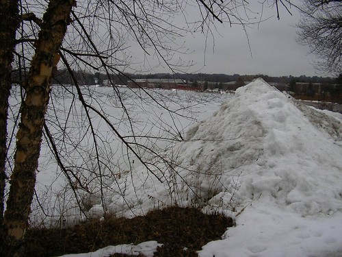 Plowed snow dumped in the lake