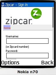 Zipcar Mobile Web site Screenshot