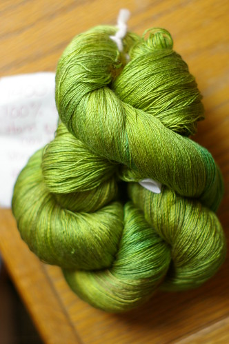 green laceweight silk