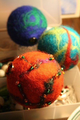 Felted Ornaments in the Making
