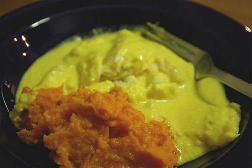 curried flounder with yams