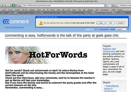 Commenting is sexy. HotForWords is the talk of the party at Geek Goes Chic