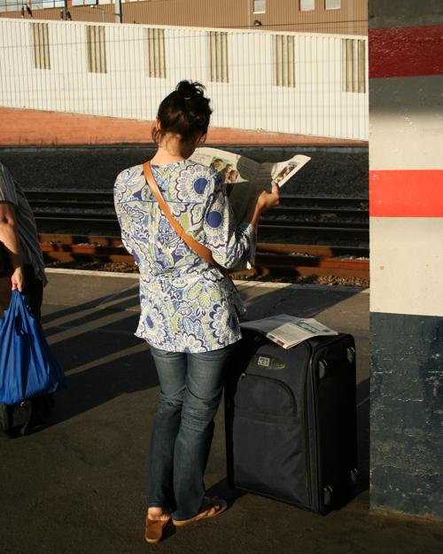 girl waiting at Peterborough station