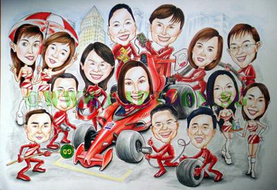 Formula one Singapore Race cartoon caricature