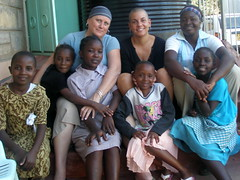 Julie And Rocky with girls at Saint Monica Children's Home