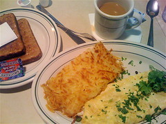 Bleu cheese omelette and hash browns