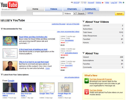 Homepage personalizzata Youtube