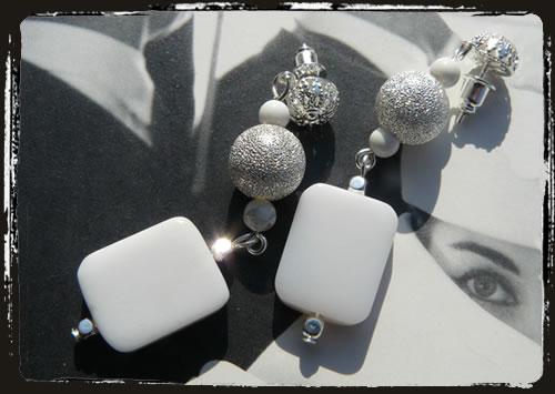 Orecchini bianchi - White earrings MEHAPBR
