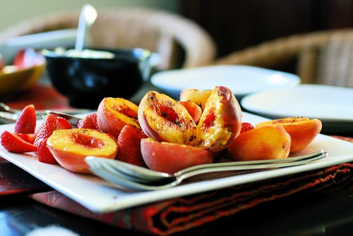 grilled peaches and blurry cream