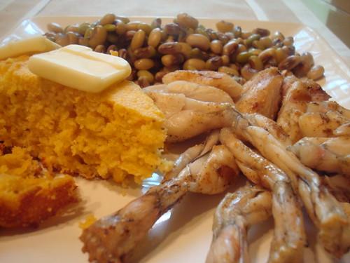 Frog Legs, Cornbread & Peas