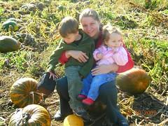 mum charlie & lola on pumpkin