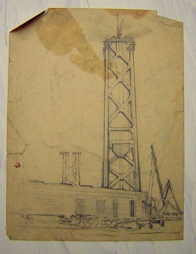A sketch of the building of the Golden Gate Bridge done by my great-grandfather, Stephen Thomas Hennessy, some time in what I'm guess were the 1930s.