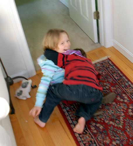 Mary and Luke wrestling