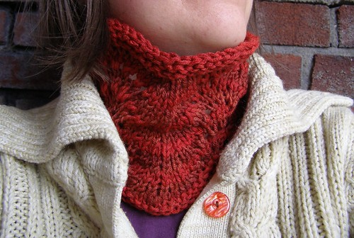 red feather and fan neckwarmer