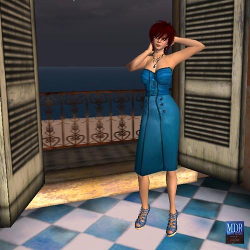 Blue pencil skirt dress